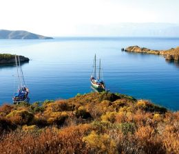 Turkey, Aegean Region, Gulf of Gokova, Tuzla Bay, Gulet mooring (local and typical sailboat)