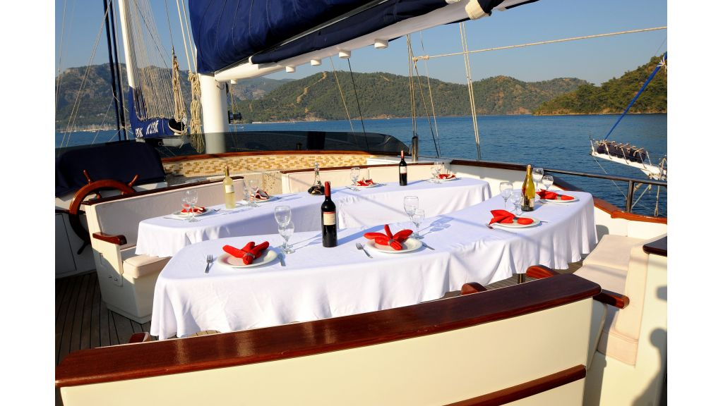 Classic Turkish motor sailer fly