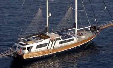 Classic Turkish motor sailer yacht