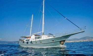 Radical design motor sailer