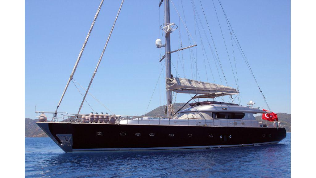 Silver k-sailing yacht