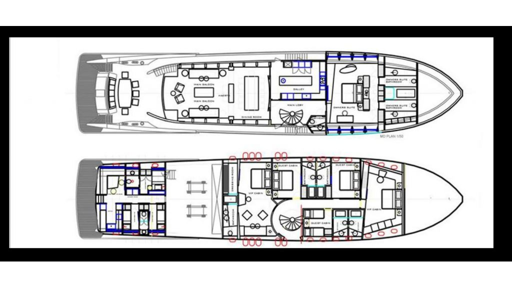 Tri-Deck Motor Yacht layout